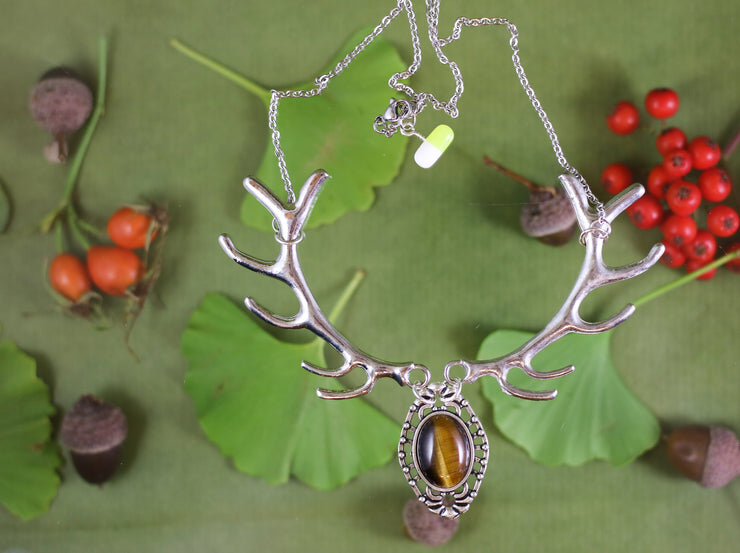Tiger's eye silver antler necklace