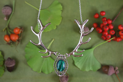 Malachite silver antler necklace