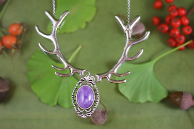 Amethyst silver antler necklace