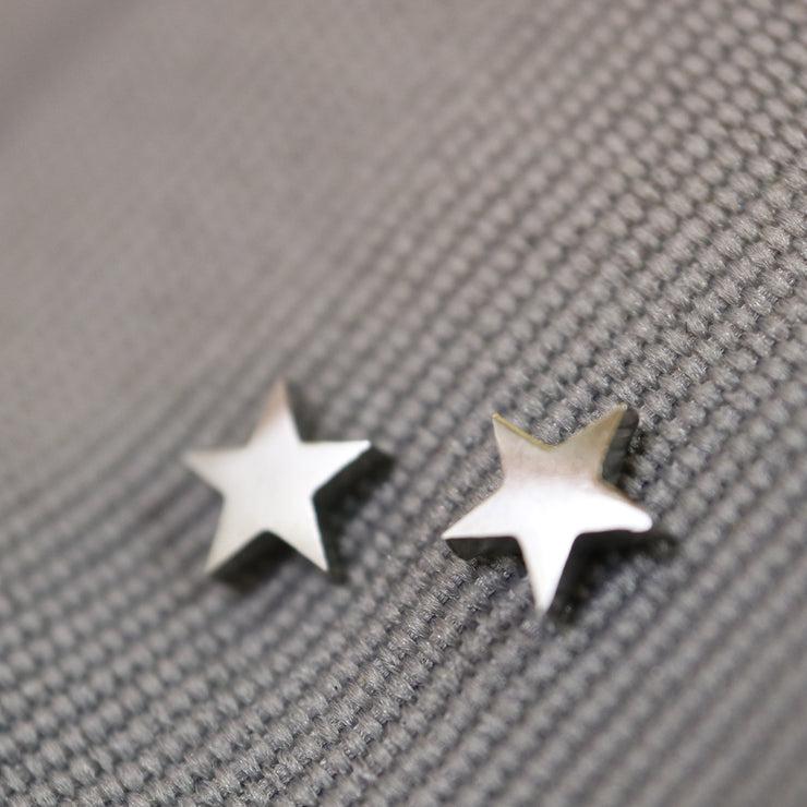 Silver star stainless stud earrings
