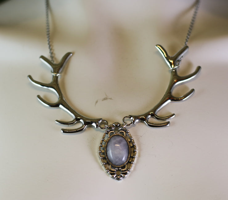 Rose quartz silver antler necklace