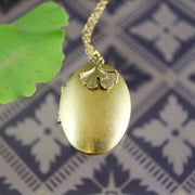 Golden sweetheart locket and ginkgo necklace