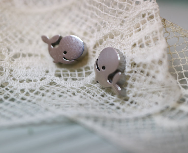 Silver whale stainless stud earrings