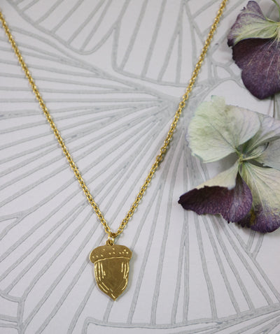 Acorn hand sawed & engraved brass necklace