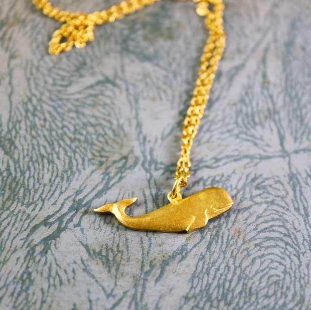 Golden whale necklace