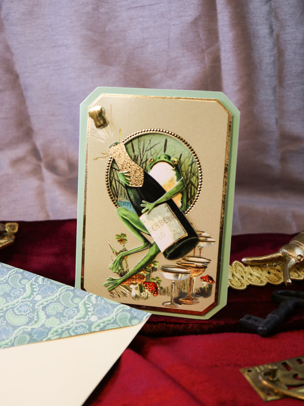 Champagne frog! Super luxurious victorian 3-D postcard with envelope