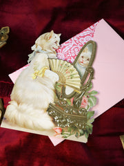 Cat lady! Super luxurious victorian 3-D postcard with envelope