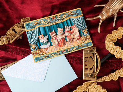 The cat musicians! Super luxurious victorian 3-D postcard with envelope
