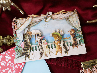 Cat parade! Super luxurious victorian 3-D postcard with envelope