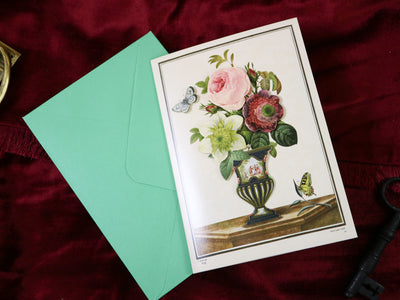 Rose bouquet! Super luxurious victorian 3-D postcard with envelope