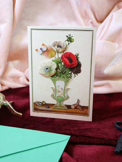 Anemone bouquet! Super luxurious victorian 3-D postcard with envelope