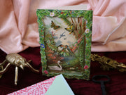 Enchanted Forest scene! Super luxurious victorian 3-D postcard with envelope