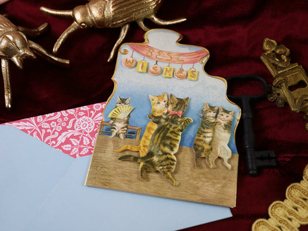 Best wishes! Super luxurious victorian 3-D postcard with envelope