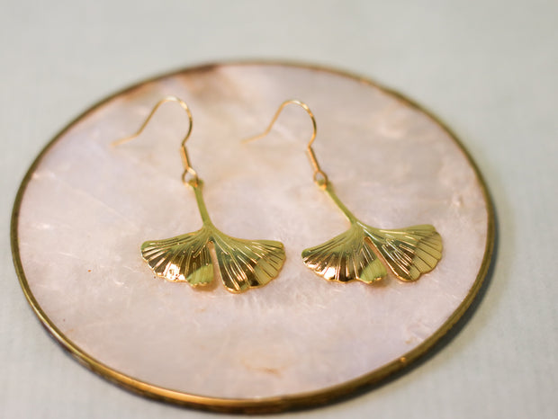 Molded golden ginkgo earrings