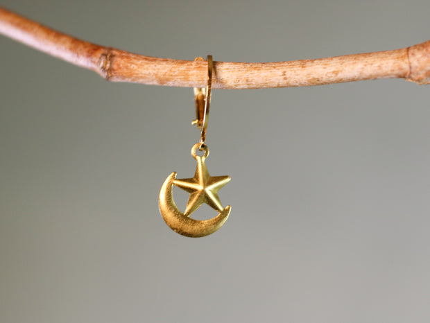 Moon & star mix & match earring