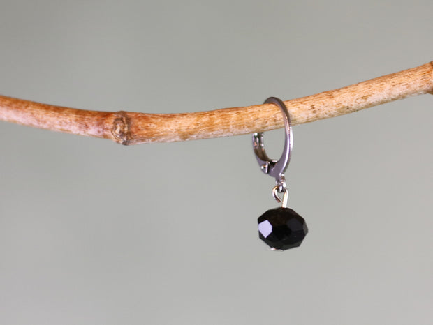 Black faceted bead mix & match earring