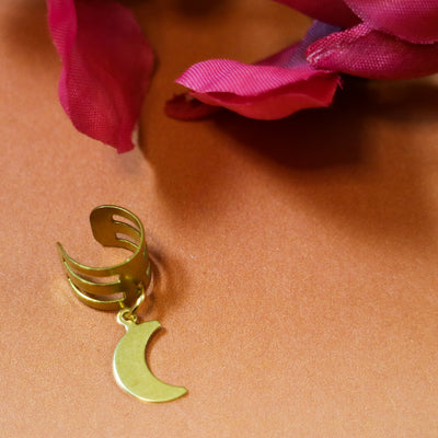Golden moon ear cuff