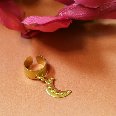Dented golden moon ear cuff