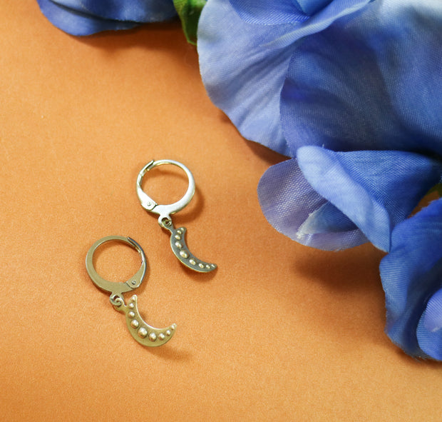 Dented silver moon mix & match earring