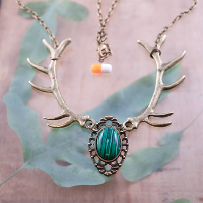 Malachite forest nymph necklace