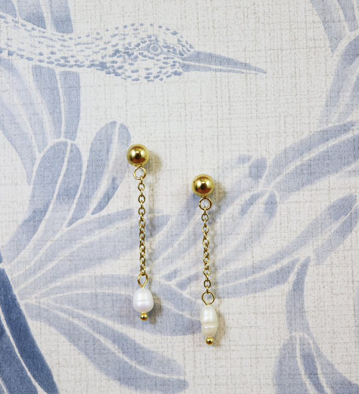 Golden chained irregular freshwater pearl earrings (Limited edition)