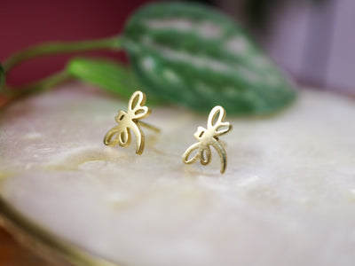 Golden dragonflies stainless stud earrings