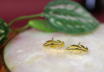 Golden feather stainless stud earrings