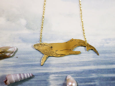 Big blue whale hand sawed & engraved brass necklace