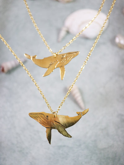 Blue whale buddies hand sawed & engraved brass necklaces