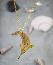 Narwhal hand sawed & engraved brass necklace