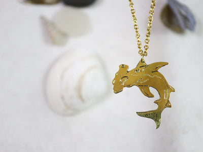 Hammerhead shark hand sawed & engraved brass necklace