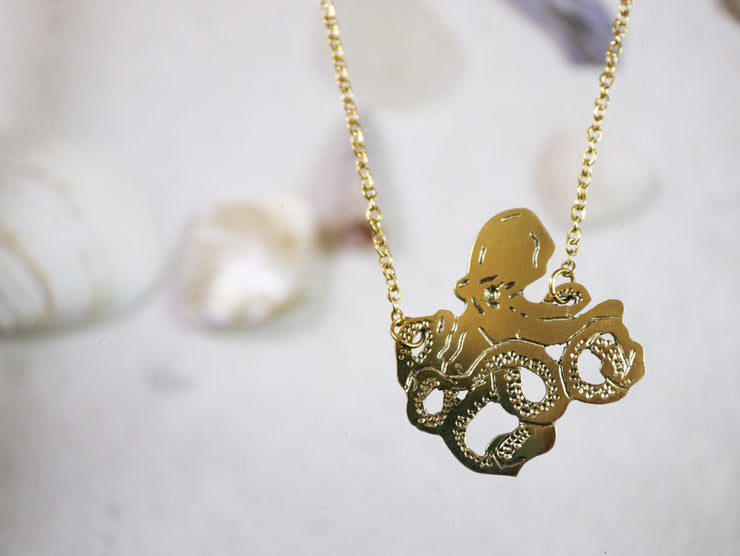 Octopus hand sawed & engraved brass necklace