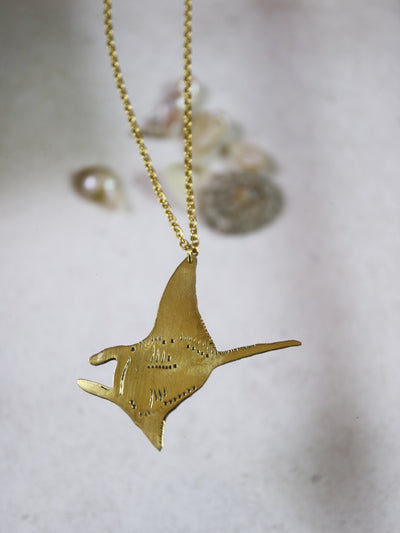 Manta ray hand sawed & engraved brass necklace