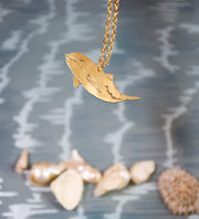 Porpoise hand sawed & engraved brass necklace