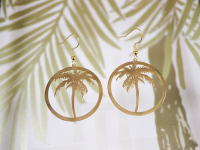 Golden palm tree earrings