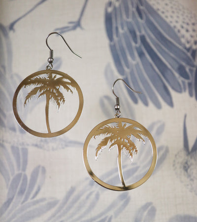 Silver palm tree earrings