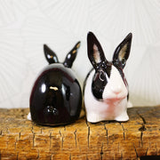 Black and white dutch rabbits salt and pepper shakers