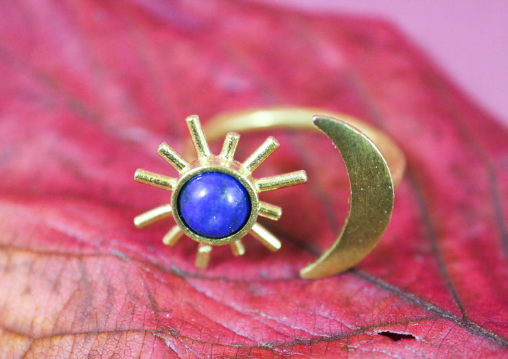 Lapis lazuli sun and moon ring
