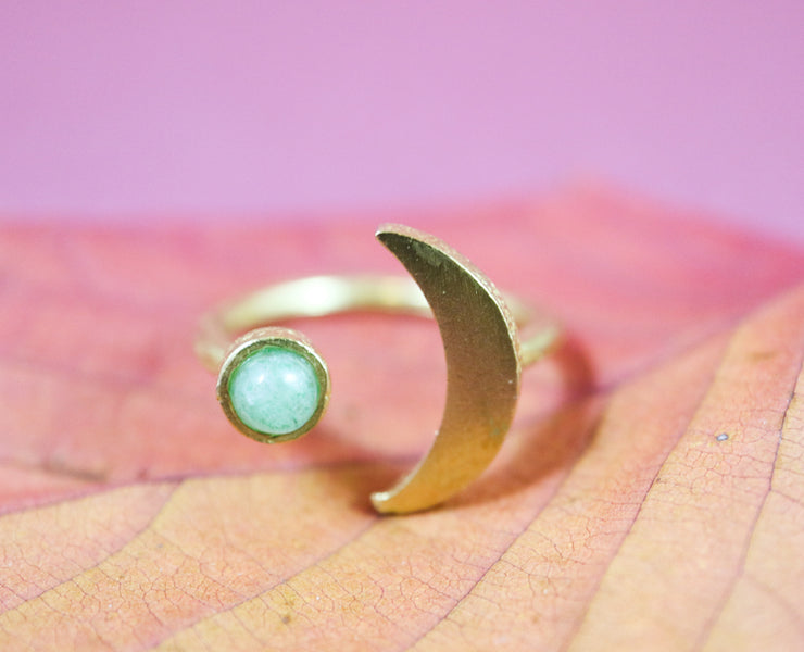 Aventurine moon ring