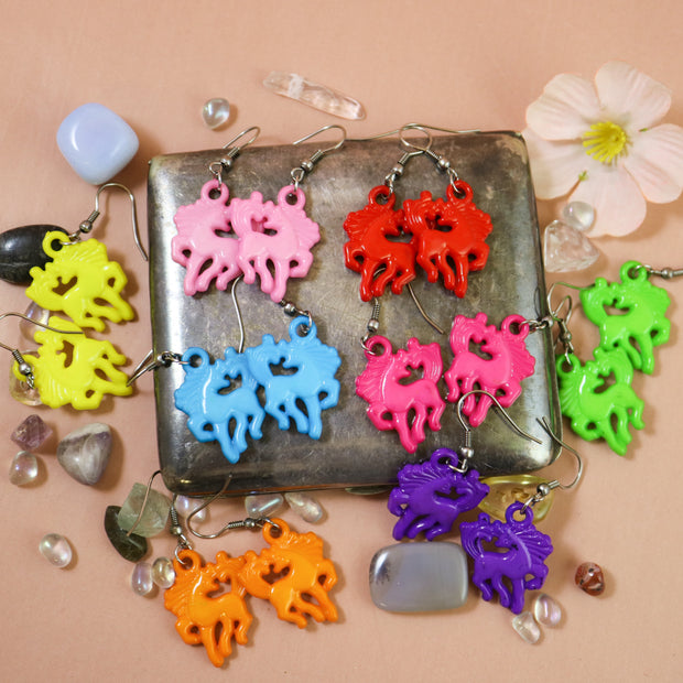Candy colored horse earrings