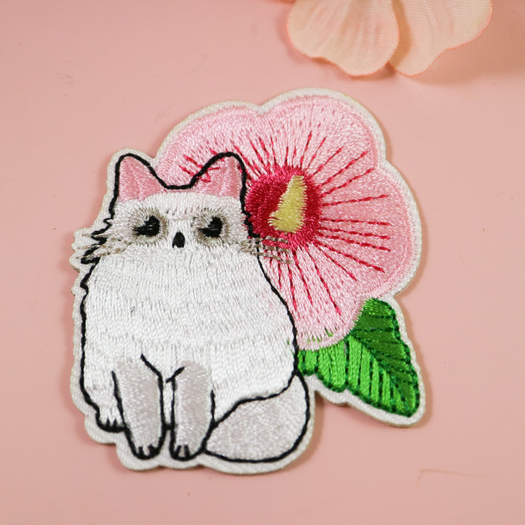 Flower cat iron on patch