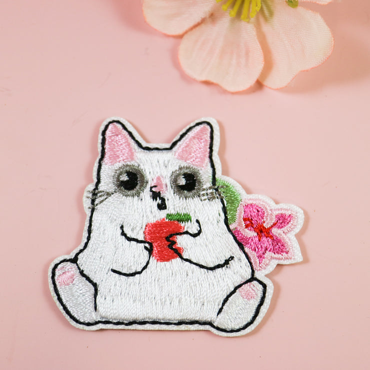 Apple cat iron on patch