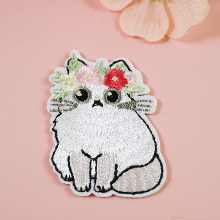 Flowercrown cat iron on patch