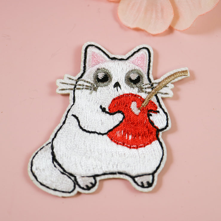 Cherry cat iron on patch