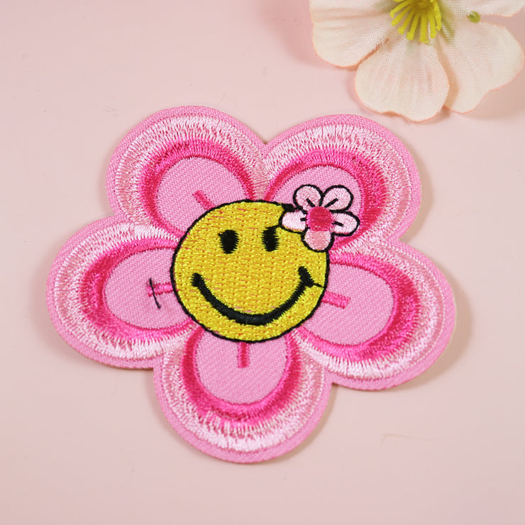 Smiley flower iron on patch