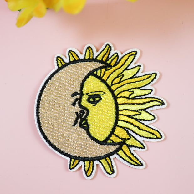 Sun & moon iron on patch