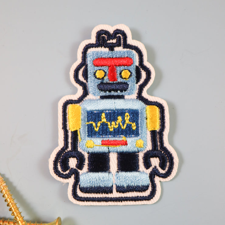 Blue robot iron on patch