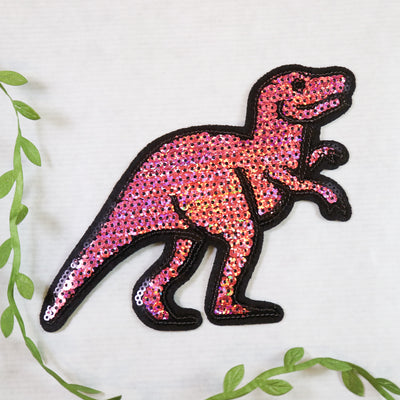 Big cerise T-Rex sequin iron on patch