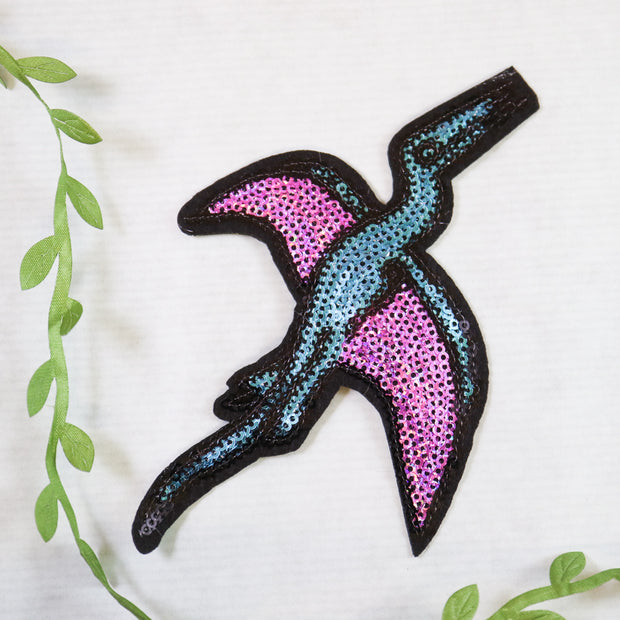 Big pterodacyl sequin iron on patch