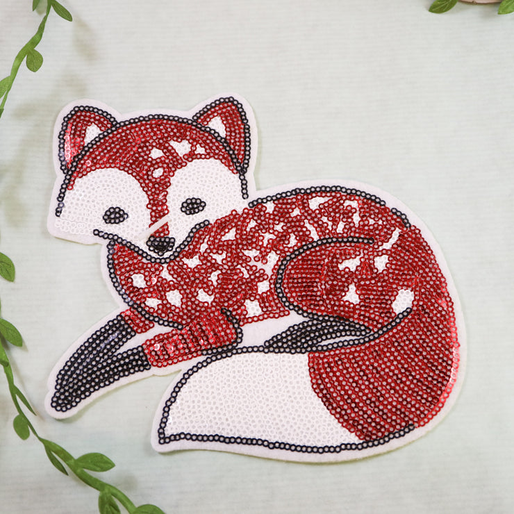 Big fox sequin iron on patch